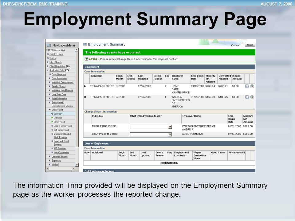 Employment Summary Page