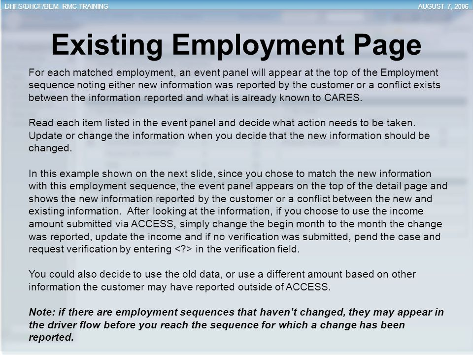 Existing Employment Page