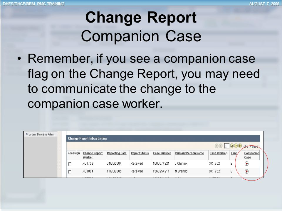 Change Report Companion Case