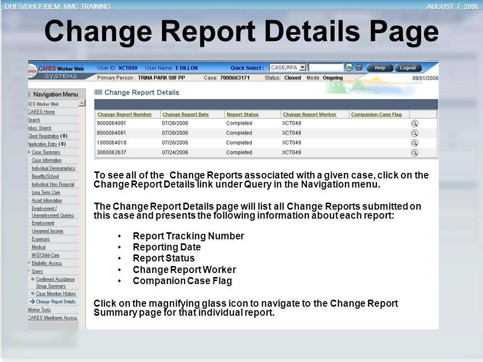 Change Report Details Page