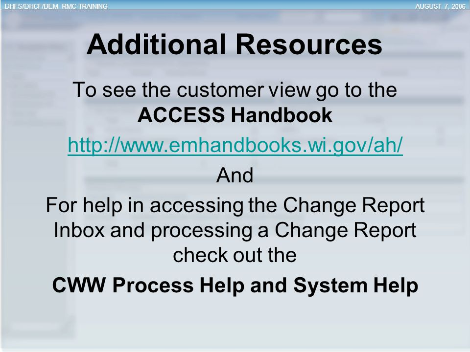 CWW Process Help and System Help