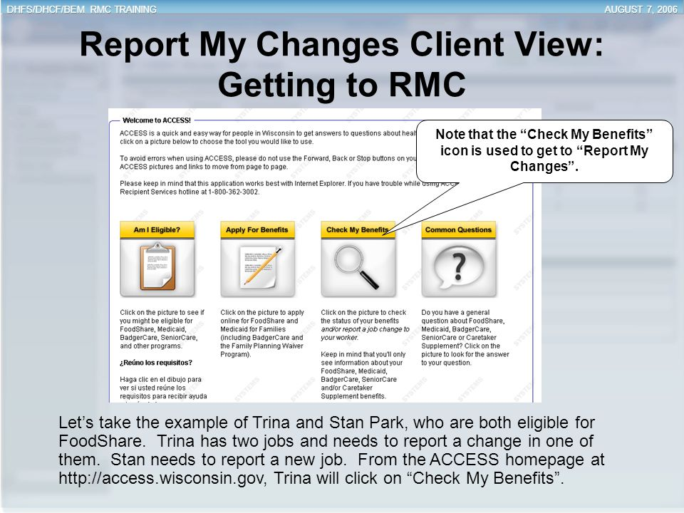 Report My Changes Client View: Getting to RMC