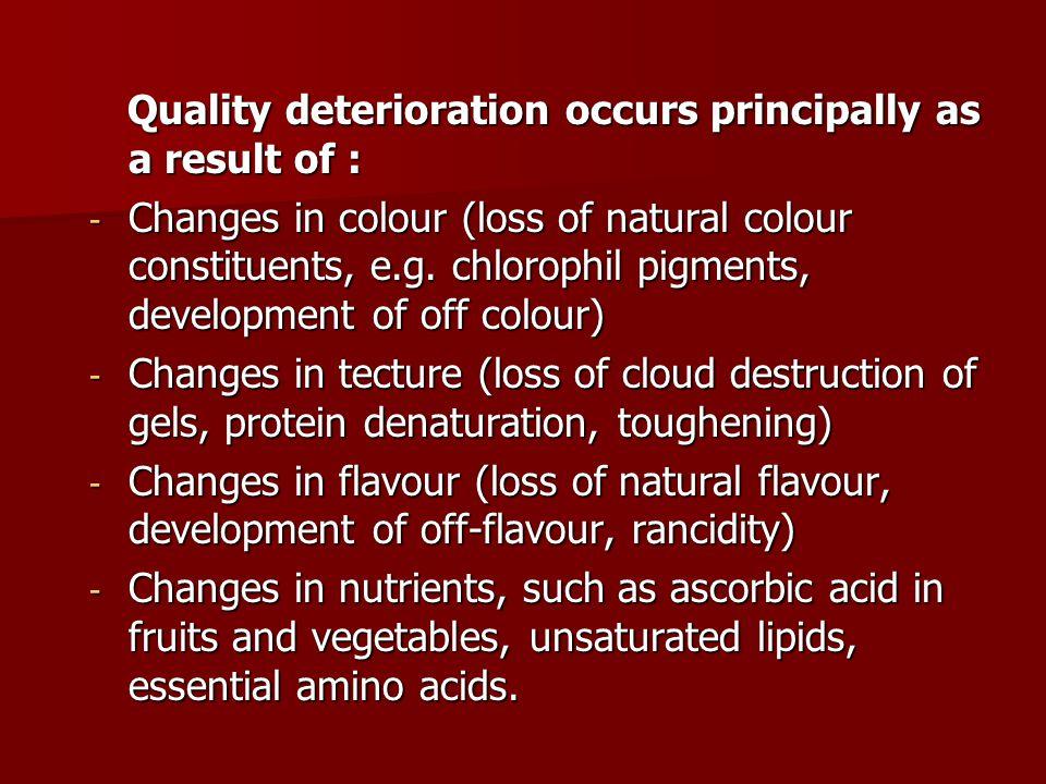 Quality deterioration occurs principally as a result of :