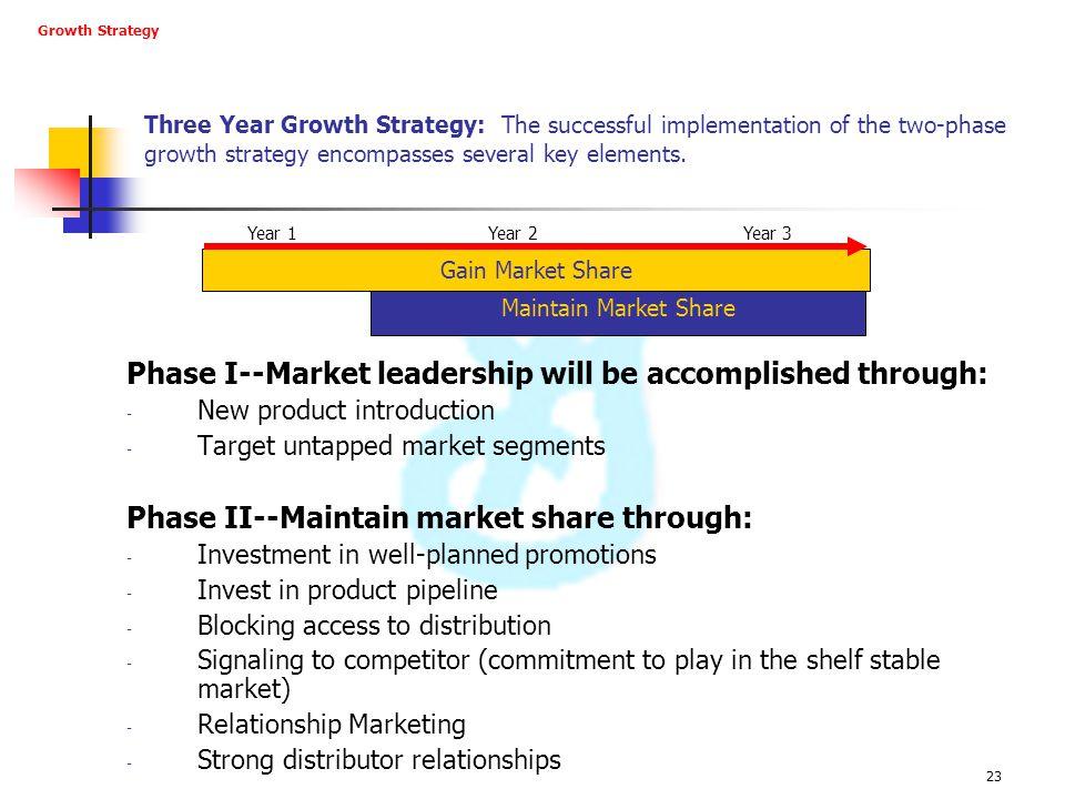 Phase I--Market leadership will be accomplished through: