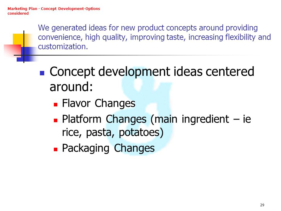 Concept development ideas centered around: