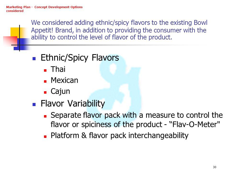 Ethnic/Spicy Flavors Flavor Variability Thai Mexican Cajun
