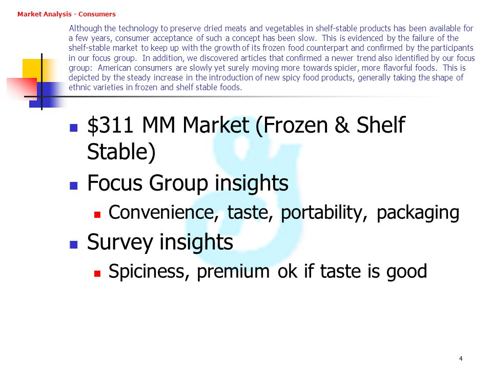 $311 MM Market (Frozen & Shelf Stable) Focus Group insights