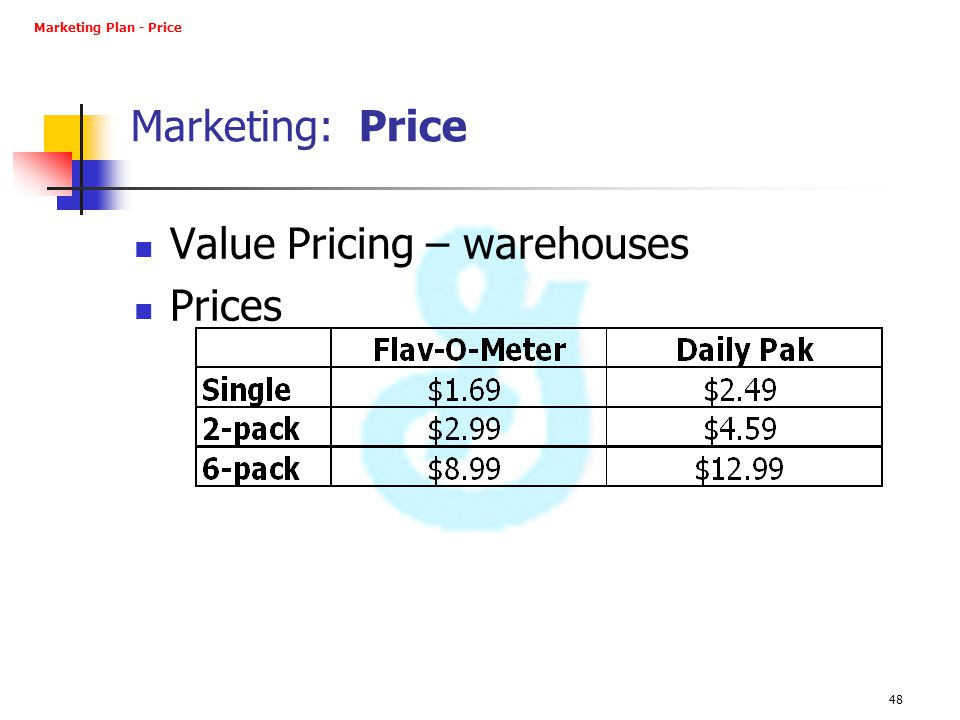 Value Pricing – warehouses Prices