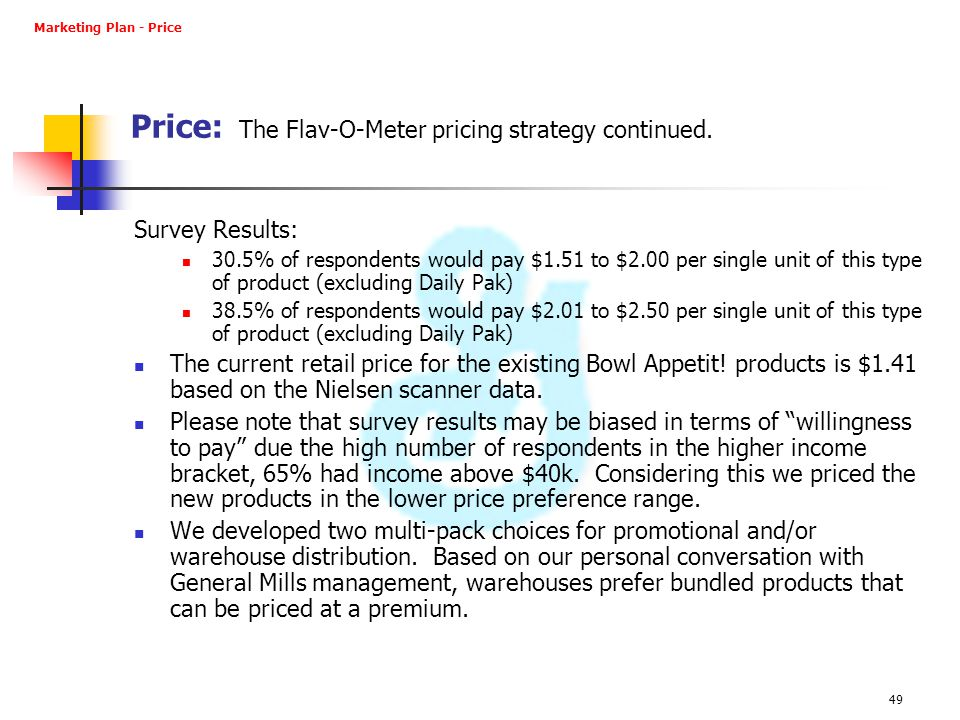 Price: The Flav-O-Meter pricing strategy continued.