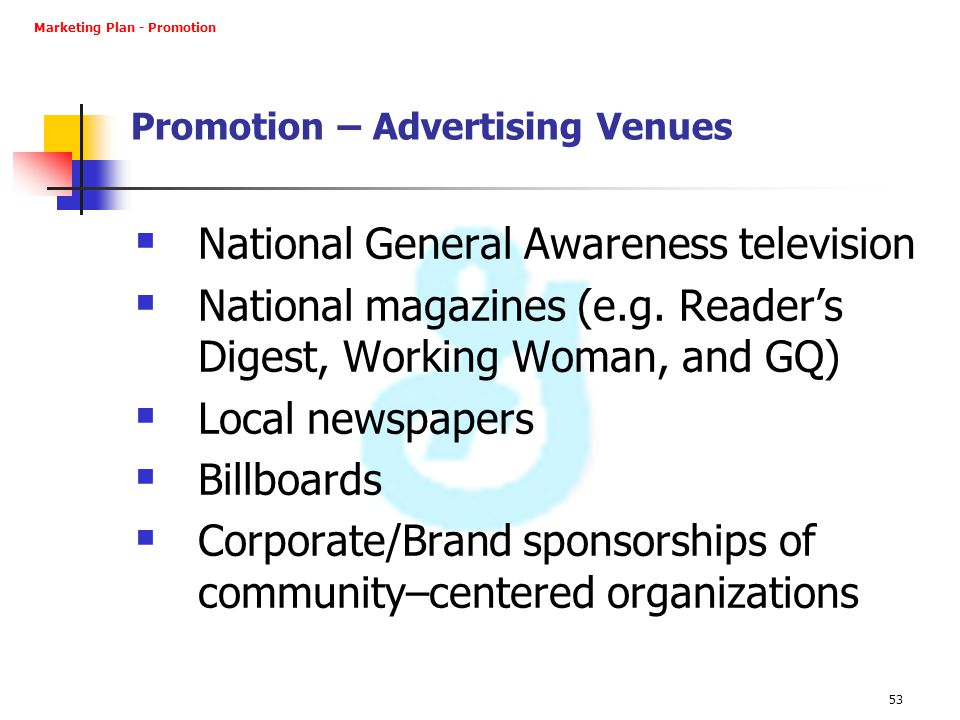Promotion – Advertising Venues