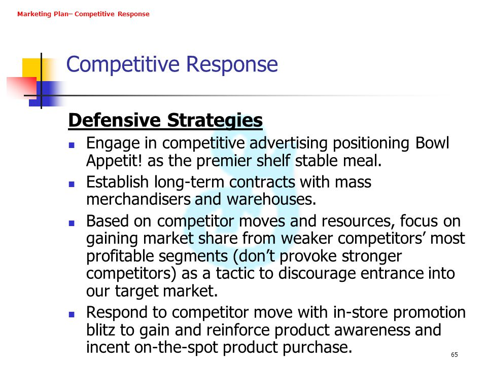 Competitive Response Defensive Strategies