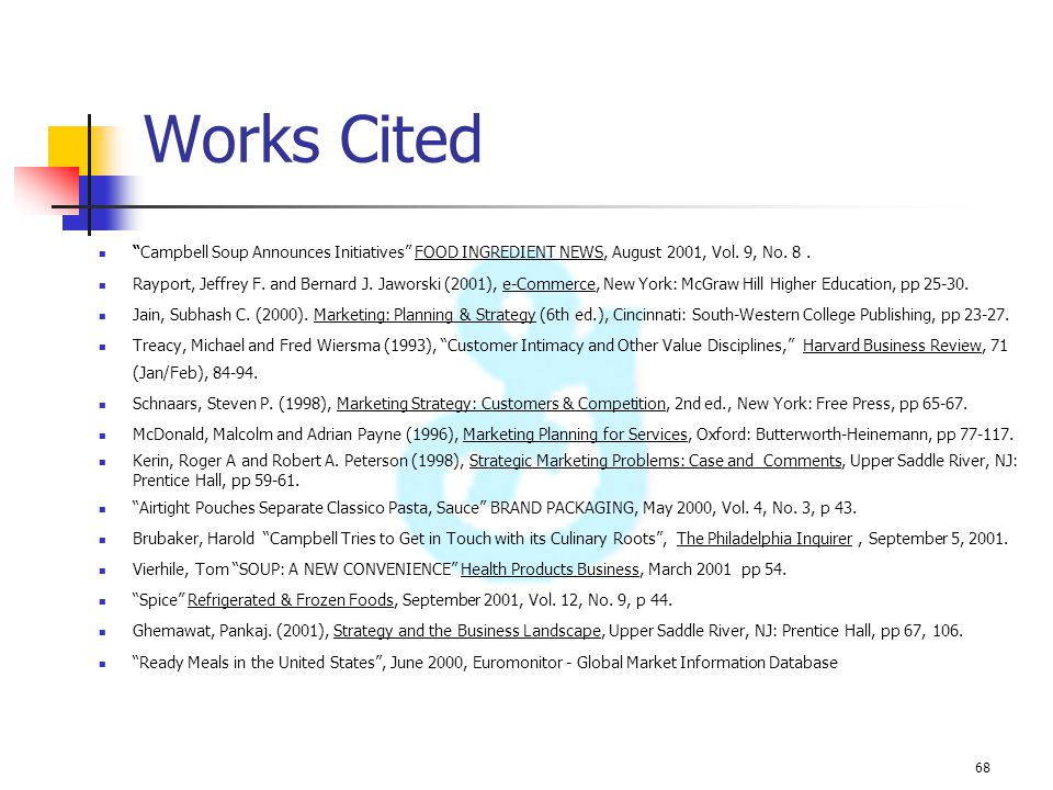 Works Cited Campbell Soup Announces Initiatives FOOD INGREDIENT NEWS, August 2001, Vol. 9, No. 8 .