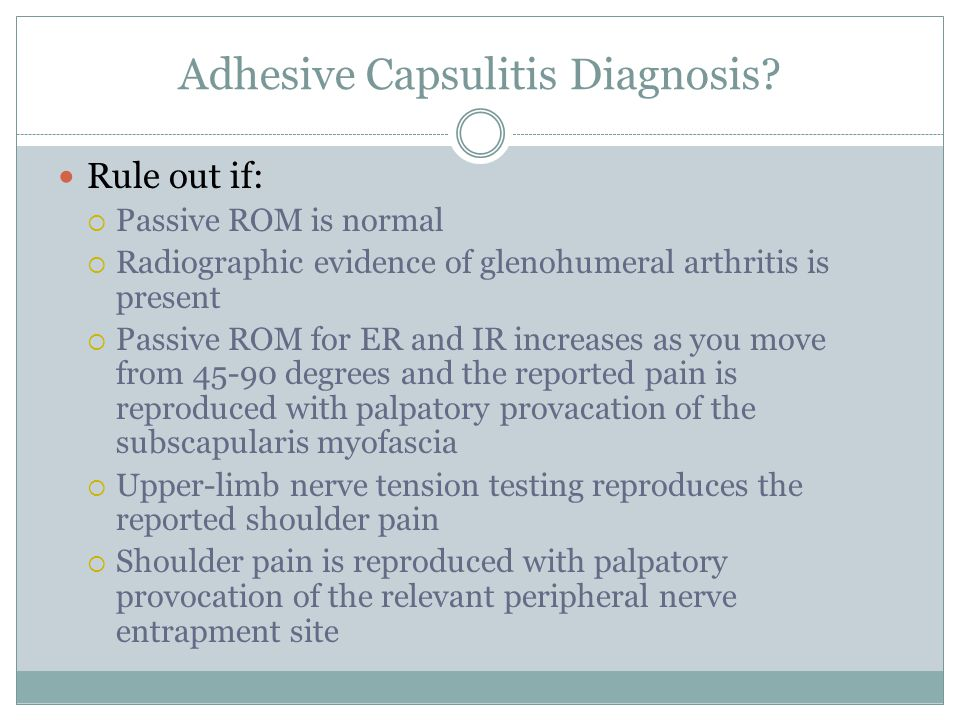 Adhesive Capsulitis Diagnosis