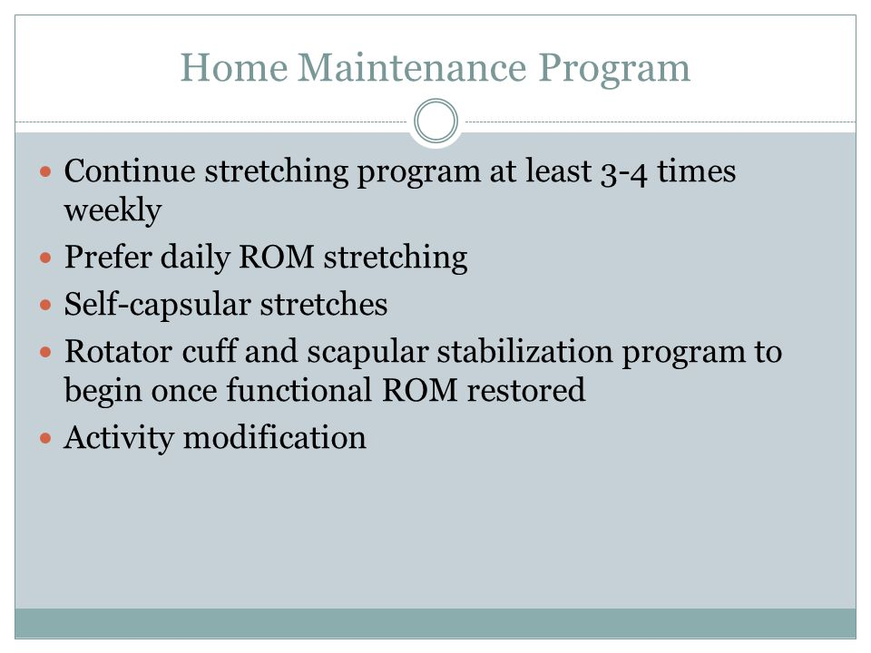 Home Maintenance Program