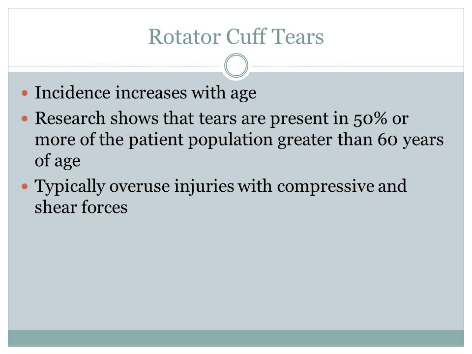 Rotator Cuff Tears Incidence increases with age