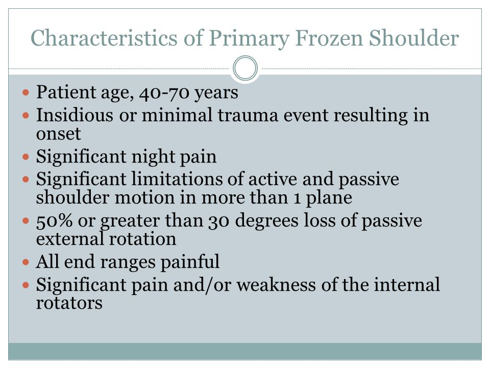 Characteristics of Primary Frozen Shoulder