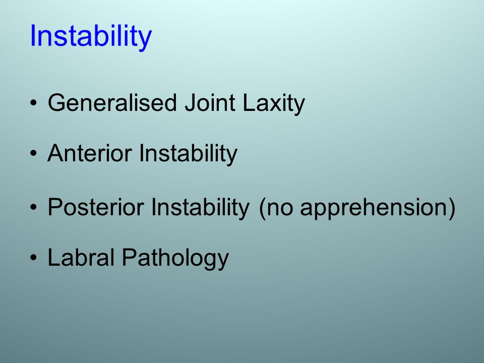 Instability Generalised Joint Laxity Anterior Instability