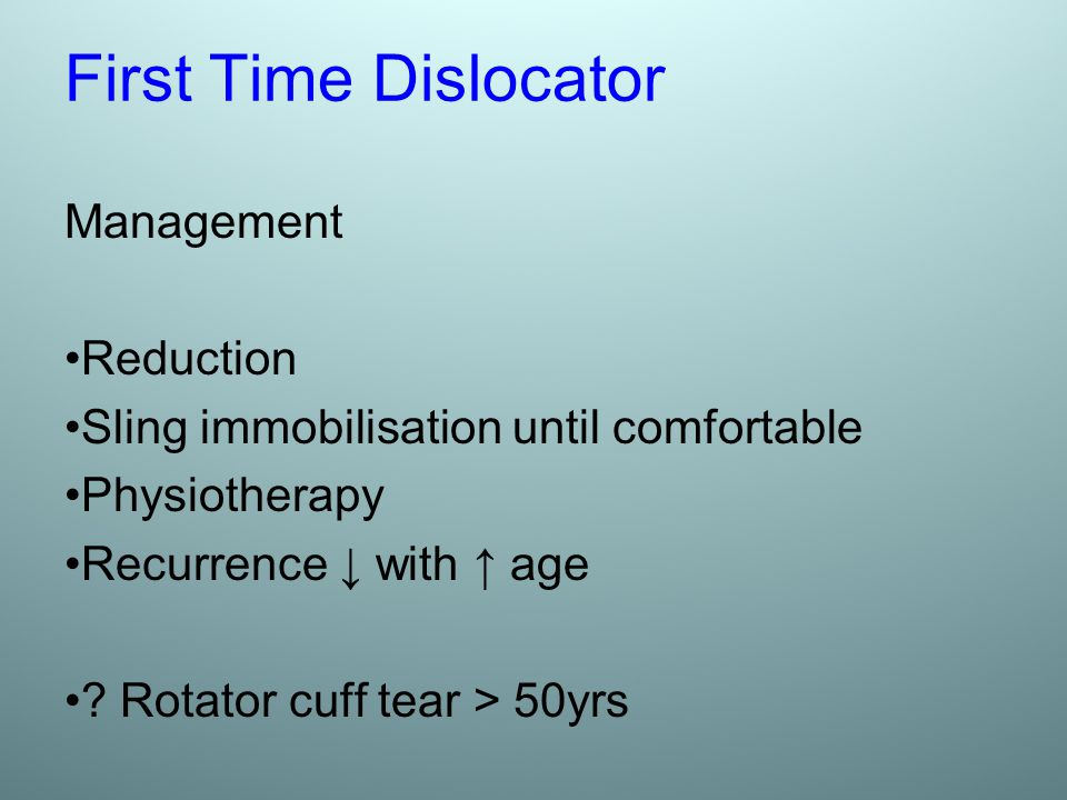 First Time Dislocator Management Reduction