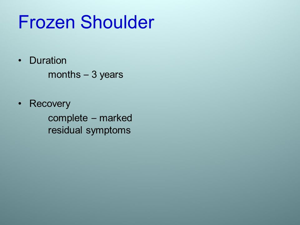 Frozen Shoulder Duration months – 3 years Recovery