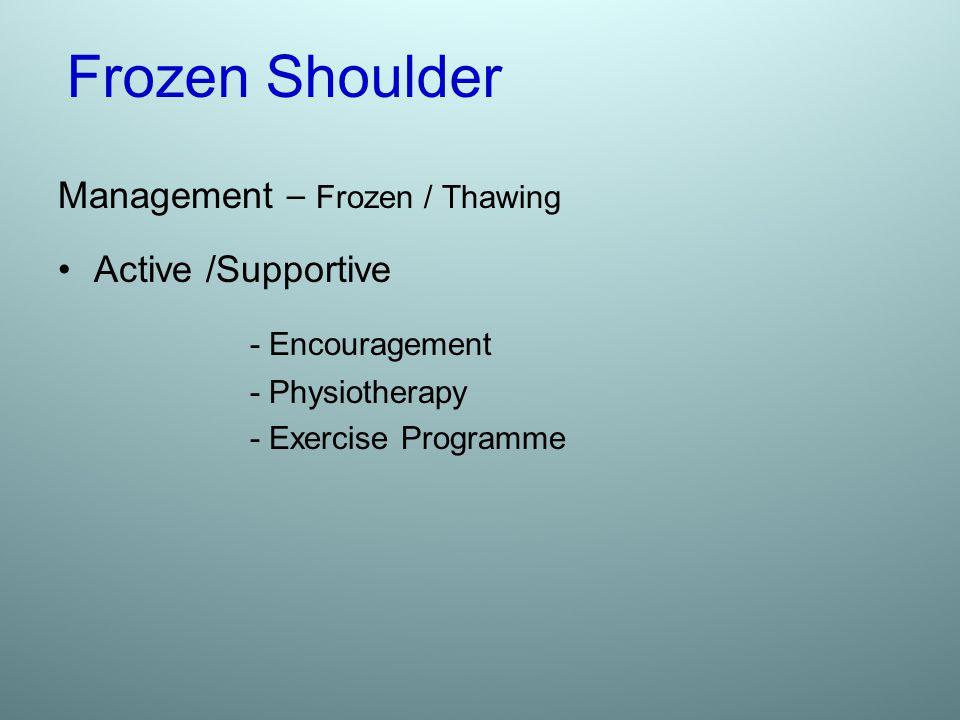 Frozen Shoulder Management – Frozen / Thawing Active /Supportive