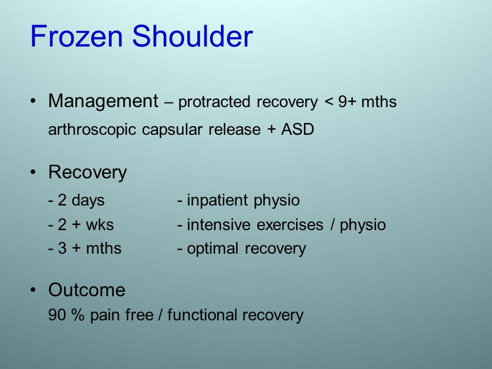 Frozen Shoulder Management – protracted recovery < 9+ mths