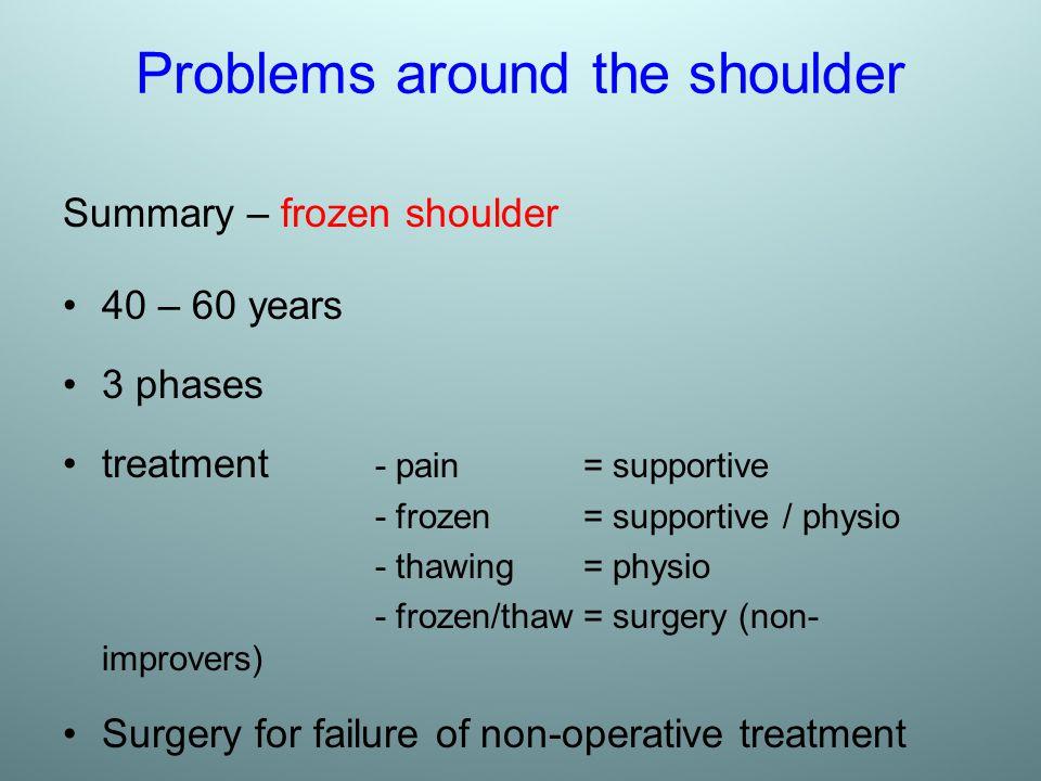 Problems around the shoulder