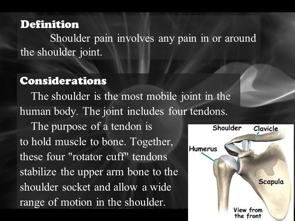 Definition Shoulder pain involves any pain in or around the shoulder joint. Considerations The shoulder is the most mobile joint in the.