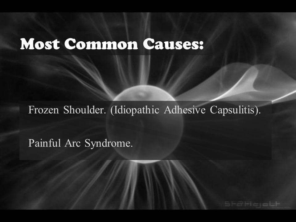 Most Common Causes: Frozen Shoulder. (Idiopathic Adhesive Capsulitis).