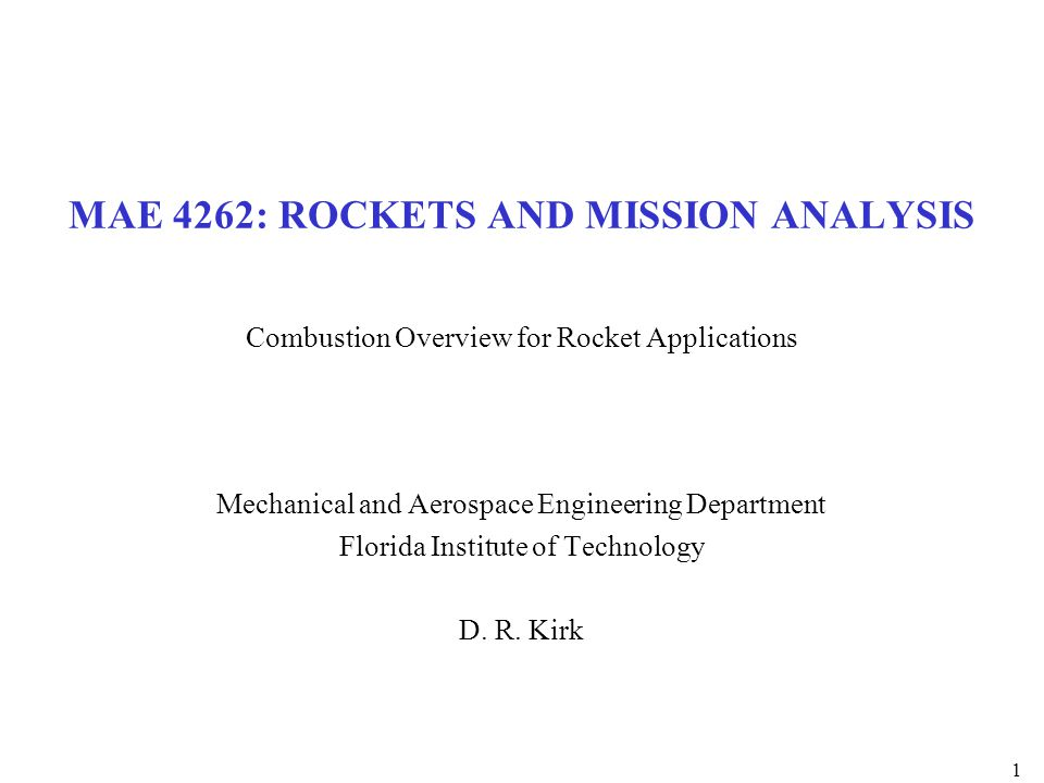 MAE 4262: ROCKETS AND MISSION ANALYSIS