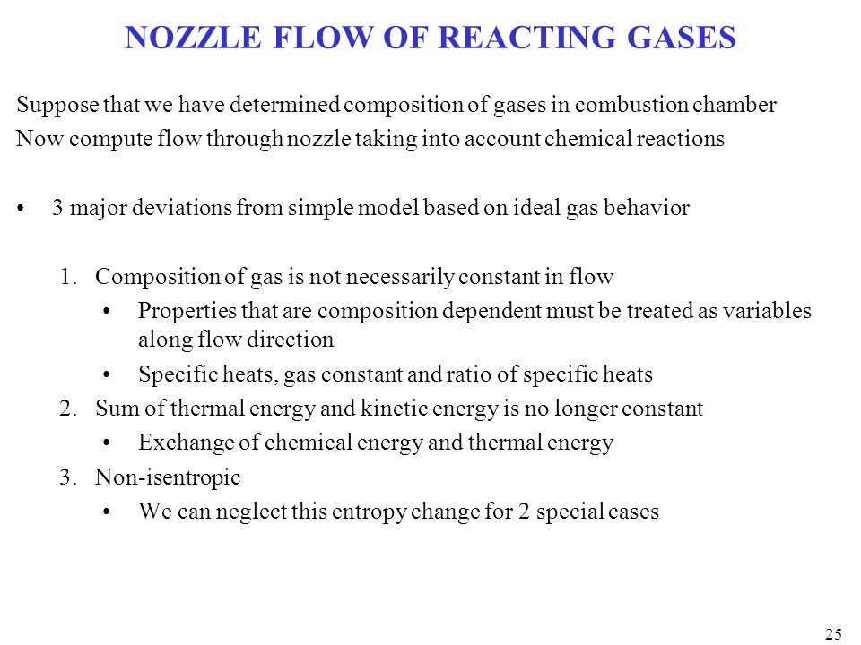 NOZZLE FLOW OF REACTING GASES