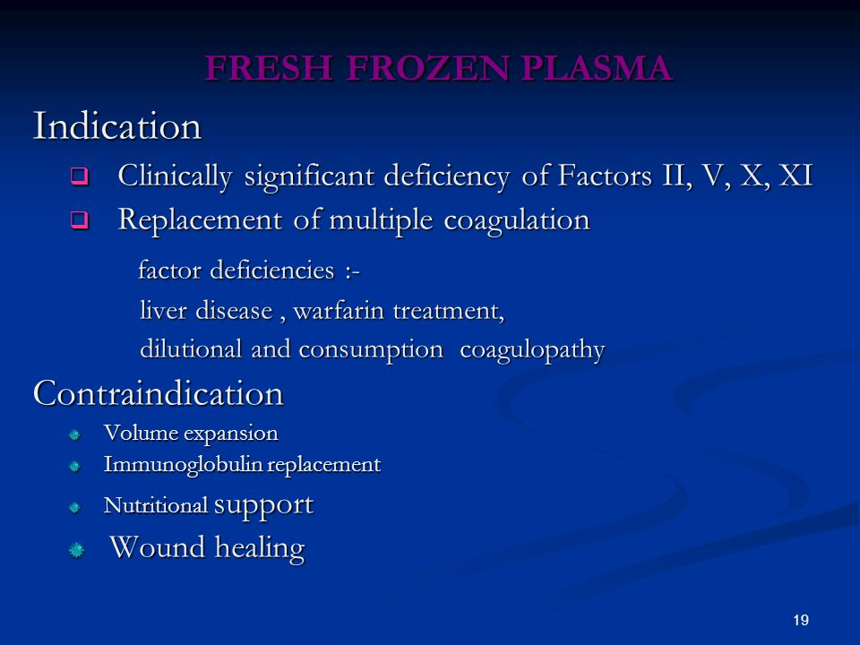 Indication FRESH FROZEN PLASMA factor deficiencies :- Contraindication