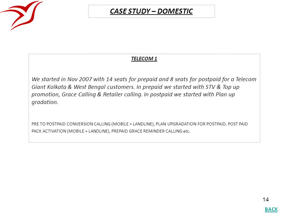 CASE STUDY – DOMESTIC TELECOM 1.