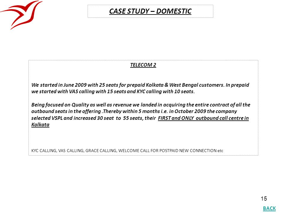 CASE STUDY – DOMESTIC TELECOM 2