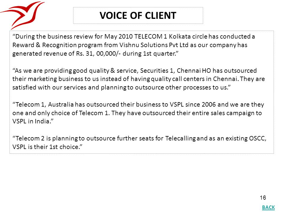 VOICE OF CLIENT