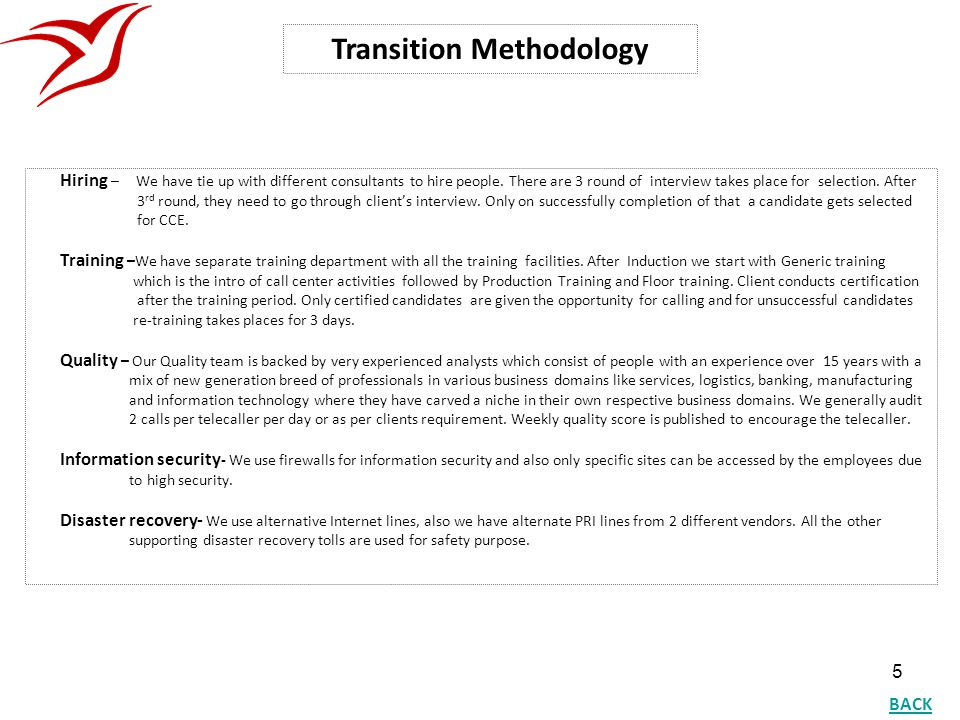 Transition Methodology
