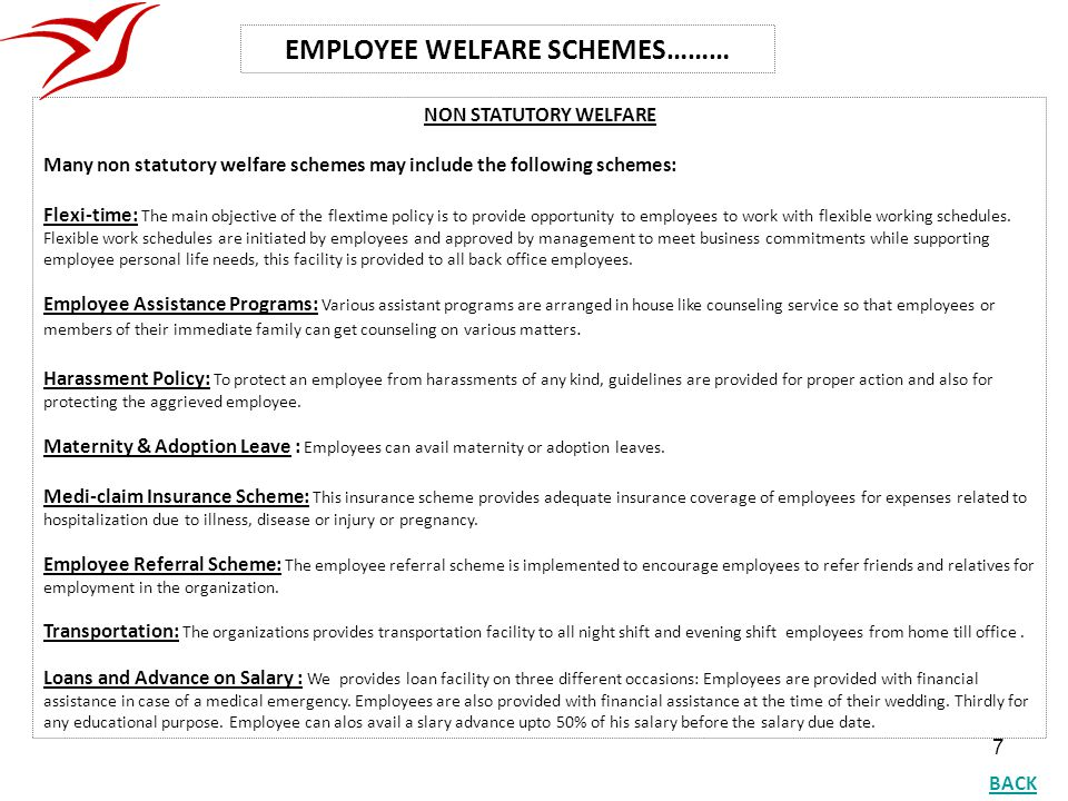 EMPLOYEE WELFARE SCHEMES………
