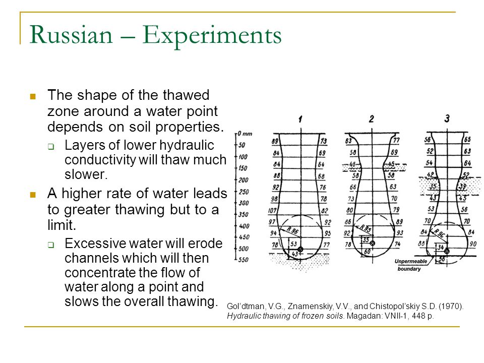 Russian – Experiments The shape of the thawed zone around a water point depends on soil properties.