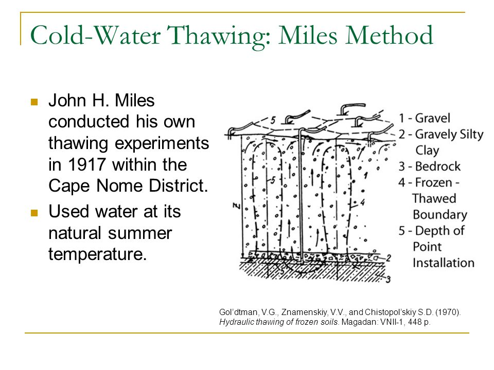 Cold-Water Thawing: Miles Method