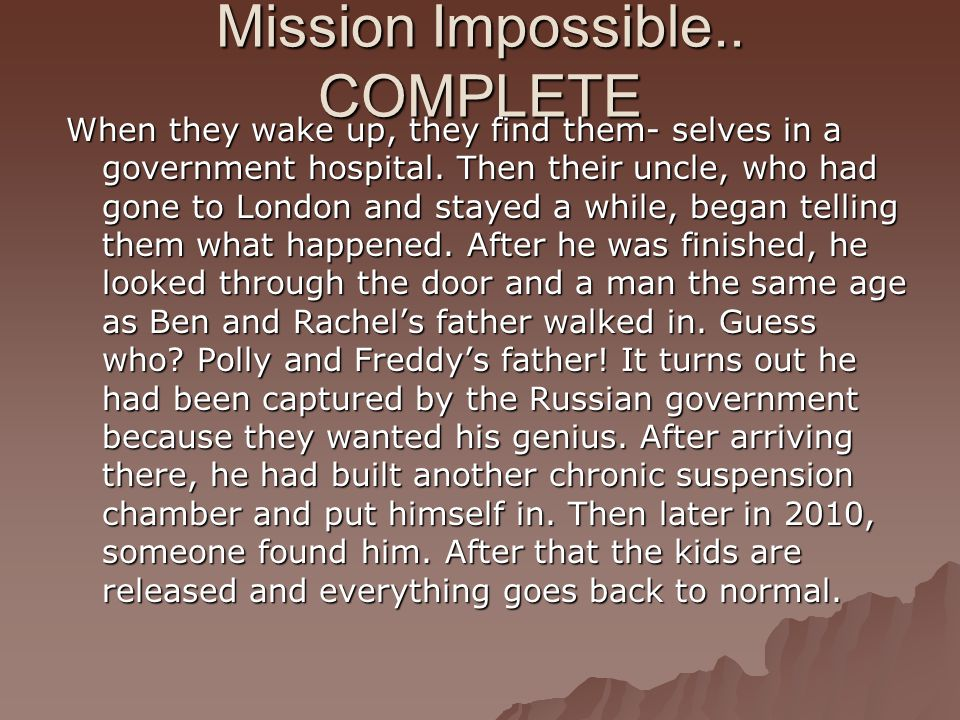 Mission Impossible.. COMPLETE