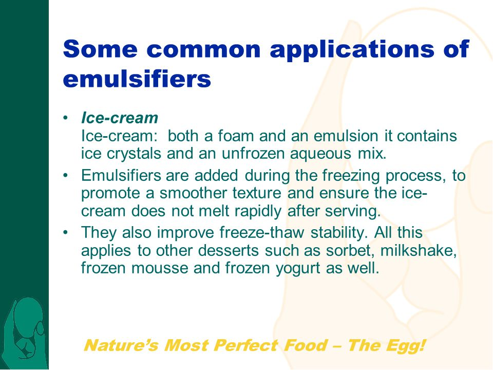 Some common applications of emulsifiers