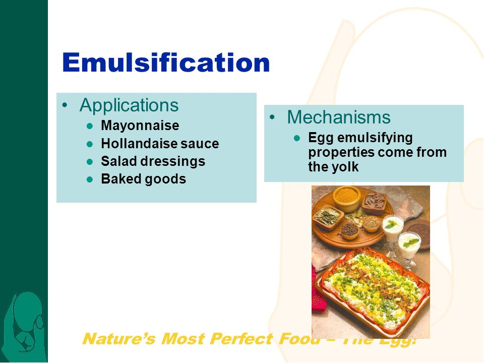 Emulsification Applications Mechanisms Mayonnaise Hollandaise sauce
