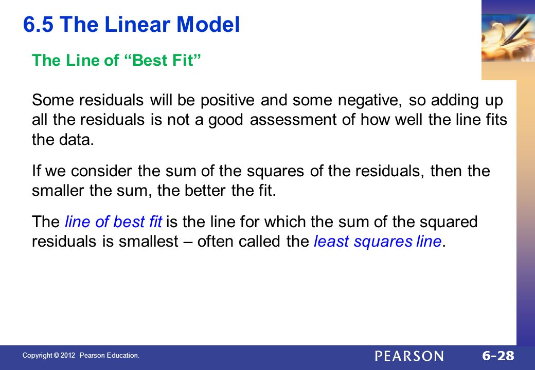 6.5 The Linear Model The Line of Best Fit