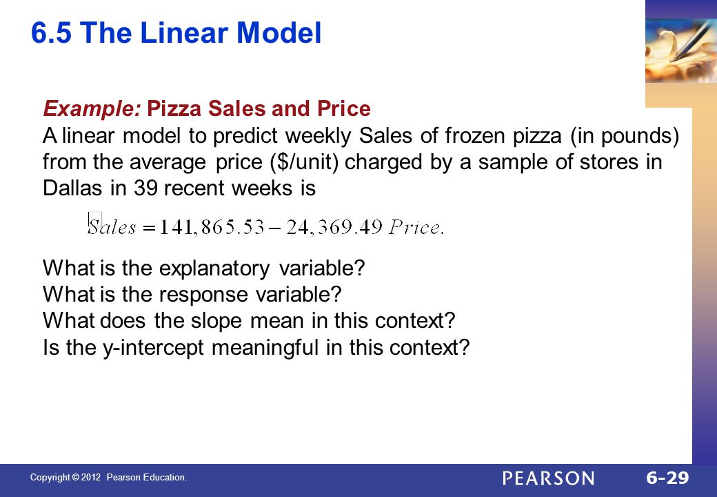 6.5 The Linear Model Example: Pizza Sales and Price