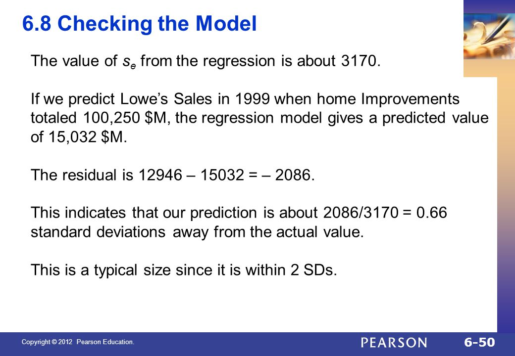 QTM1310/ Sharpe 6.8 Checking the Model. The value of se from the regression is about 3170.