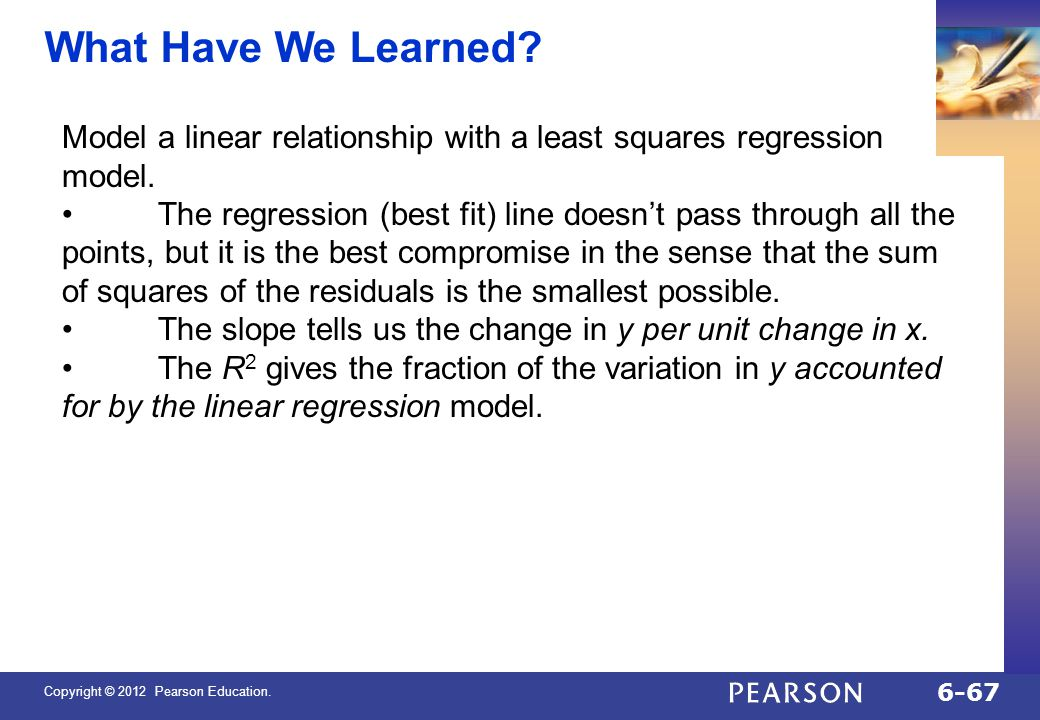 QTM1310/ Sharpe What Have We Learned Model a linear relationship with a least squares regression model.
