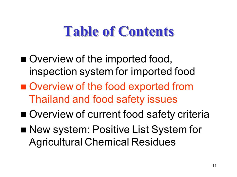 Table of Contents Overview of the imported food, inspection system for imported food.