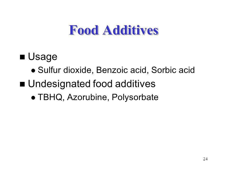 Food Additives Usage Undesignated food additives