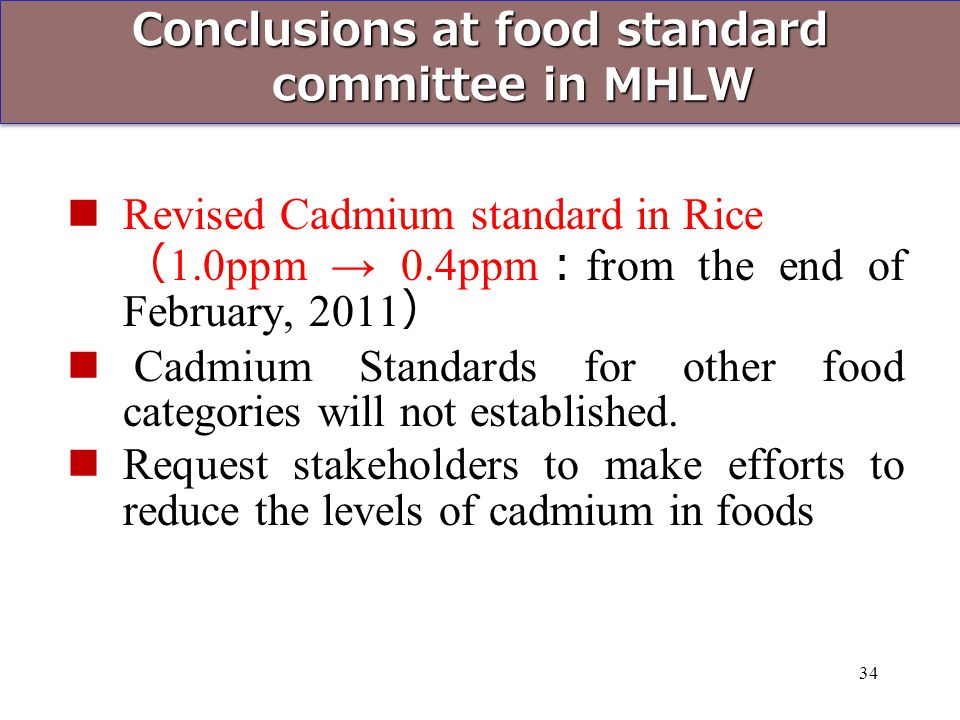 Conclusions at food standard committee in MHLW
