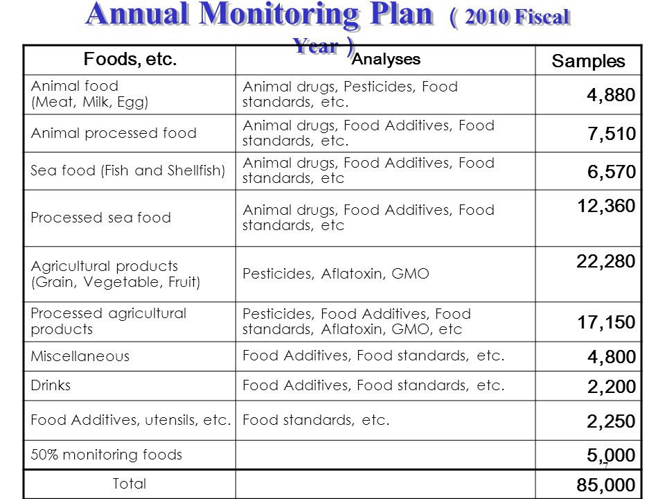 Annual Monitoring Plan (2010 Fiscal Year)