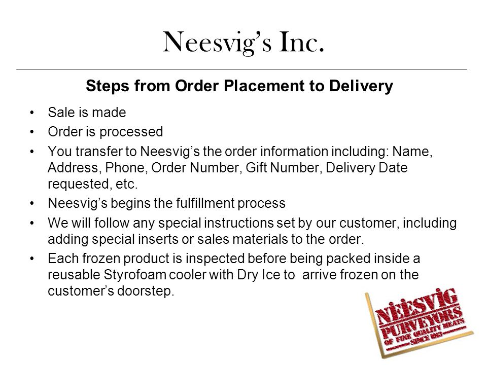 Steps from Order Placement to Delivery